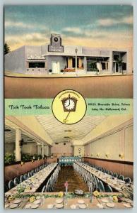 Hollywood California~Tick Tock Restaurant~Toluca Lake~ART DECO~1940s Linen PC