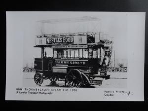 Omnibus THORNEYCROFT STEAM BUS ELECTRIC HAMMERSMITH Pamlin Print Postcard M884
