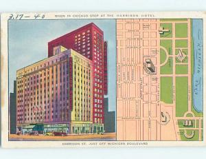 Linen MAP & HARRISON HOTEL ON POSTCARD Chicago Illinois IL B4266