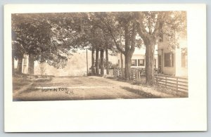 Hopkinton New Hampshire~Main Street Past Homes~Rail Fences~Dirt Road~1905 RPPC