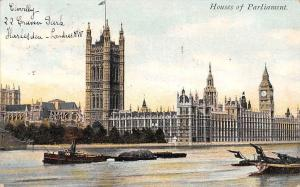 London, River Boats Houses of Parliament 1908