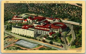 Tucson, AZ Postcard Air View, St. Mary's Hospital & Sanatorium Curteich Linen
