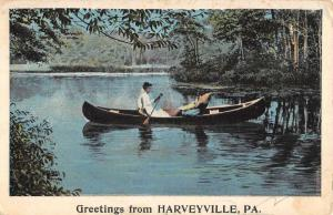 Harveyville Pennsylvania Lady Rowboat Waterfront Antique Postcard K62328