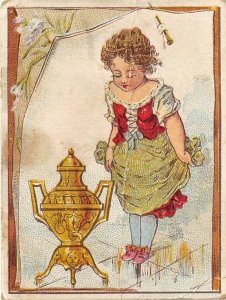 Dilworth's Coffee Victorian Trade Card Pretty Girl With Ornate Coffee Urn