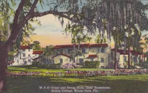 Exterior, Cross and strong Halls, Girls' Dormitories, Rollins College, Winter...