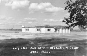 Avon Minnesota City Hall Rec Court Real Photo Antique Postcard K82227