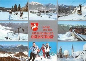 Gruesse aus dem Winterparadies Oberstdorf multiviews Skiers Cable Car Church