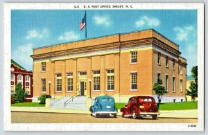 1940's Shelby N.C. Post office  Old Cars Post Card P4