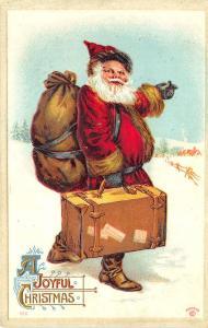 Red Suited Santa Claus A Joyful Christmas 1911 Embossed Postcard