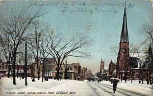 Detroit Michigan 1908 Postcard Winter Scene Grand Circus Park