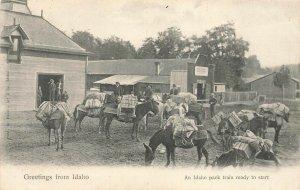 Greetings from Idaho An Idaho pack train ready to start Postcard