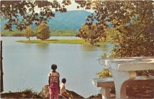 Caryville Tennessee~Cove Lake State Park~Kids on Bench Rock Banks~1950s