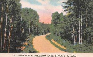 Greetings from Charleston Lake, Ontario, Early Postcard, Used in 1954