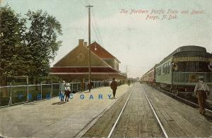 1910 Fargo North Dakota Postcard: Northern Pacific Train at N. P. Depot