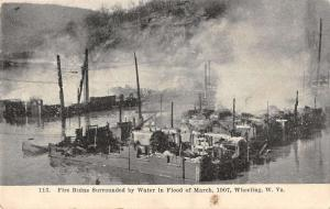 Wheeling West Virginia fire ruins after March 1907 flood antique pc Y15285