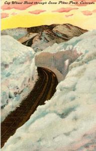 CO - Pike's Peak. Cog Railway Road in Snow