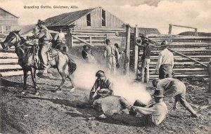 Gleichen Alberta Canada Branding Cattle Ranch Scene Cowboys Postcard JJ649047