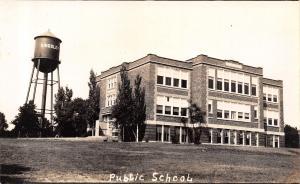 Kingsley Iowa~Public School~Town Water Tower~Name on Side~1920s RPPC