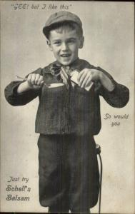 Little Boy Vintage Fashion Clothing - SCHELL'S BALSAM Fort Plain NY Cancel PC