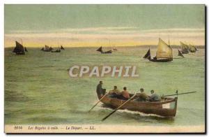 Postcard Old Ship Sail boat regatta has veil The departure