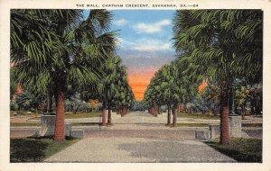 Savannah Georgia 1940s Postcard The Mall Chatham Crescent