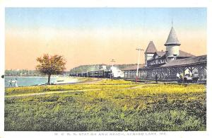 Sebago Lake ME Central Arriving Train Railroad Station Train Depot Postcard