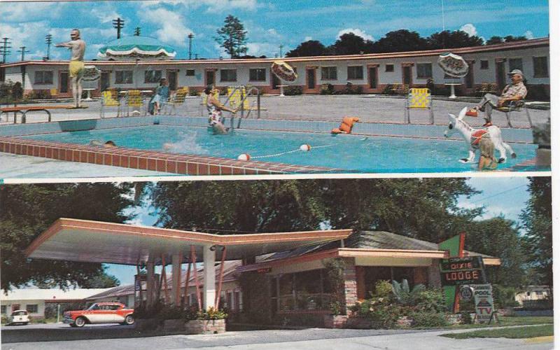 Dixie Motor Lodge Restaurant Carport Swimming Pool Deland Florida 40 60s Hippostcard