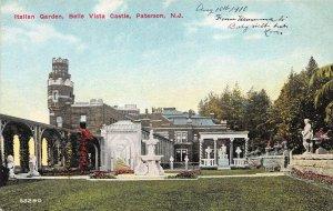 Italian Garden, Belle Vista Castle, Patterson, N.J., Early Postcard, Unused