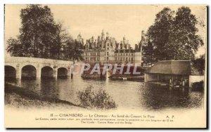 Old Postcard Chambord The castle Along the Cosson Bridge