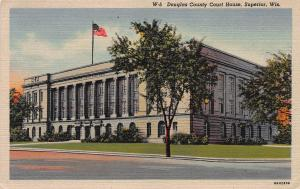 Douglas County Court House, Superior, Wisconsin, Early Linen Postcard, Unused