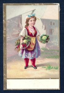 VICTORIAN TRADE CARD Girl w/Vegetables