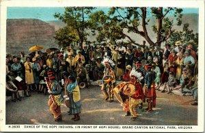 Postcard AZ Dance of the Hopi Indians - Native Americana - Fred Harvey 1938 L4