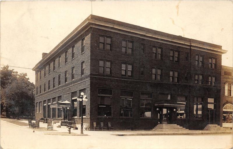 Ida Grove Iowa Hotel Corner View Next Door Vintage Rppc