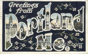 Portland, ME, USA Large Letter Town Postcard Post Card Old Vintage Antique  P...