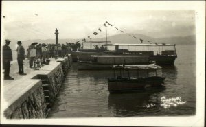 Chapala Mexico Pier Boats Lighthouse c1930s Real Photo Postcard