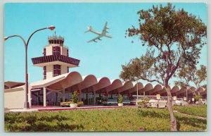 Oakland California~International Airport~Jet Terminal~Plane Landing~Postcard