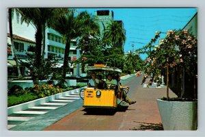 Miami Beach FL- Florida, Exotic Lincoln Mall, Tram Car, Chrome c1968 Postcard