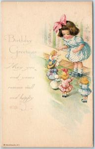 Vintage GIBSON Birthday Greetings Postcard Girl Playing with Dolls c1910s Unused