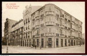dc1021 - SPAIN La Coruna 1910s Calle de Betanzos y Plaza de Lugo by Comas