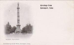 Iowa Greetings From Davenport Showing Soldiers Monument Private Mailing Card