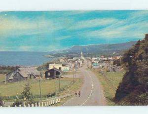 Pre-1980 TEXACO GAS STATION SIGN IN THE DISTANCE Les Mechins On Gaspe QC F9166