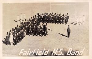 Fairfield Iowa~High School Trojans Marching Band~Football Goal Post~1950s RPPC