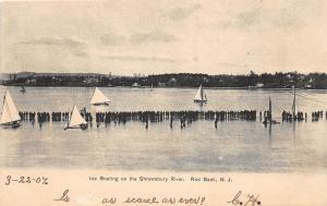 E2/ Red Bank New Jersey NJ Postcard 1907 Ice Boating Shrewsbury River Sailboats