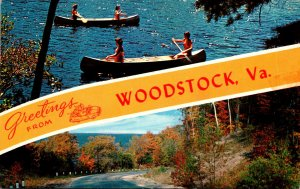 Virginia Woodstock Greetings Showing Fall Colors and Canoeing Scene
