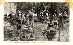 Chaco Argentina RPPC, Quebracho Sawmill Workers Pause for Lunch Outdoors