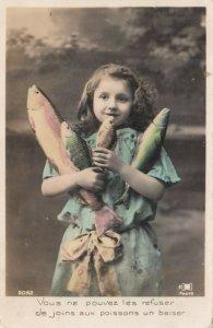 RP: Girl holding fish, 1911
