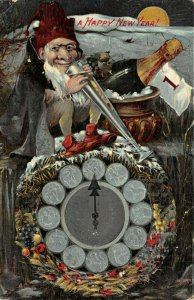 LP54 Gnome or Elf Champagne Zodiac Clock  New Years Gel Finish Vintage Postcard