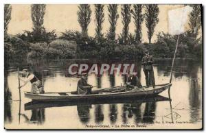 Old Postcard Fishing Fisherman Noisy le Grand fishing boat
