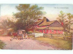 c1910 Postcard HORSE-DRAWN WAGON MERCHANT SELLING DOOR TO DOOR AC4404