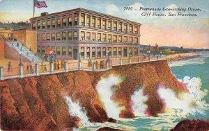 Promenade Overlooking Ocean CLIFF HOUSE San Francisco CA c1910s Vintage Postcard